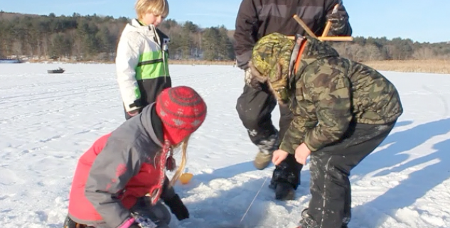 Family Ice Fishing At Lake Rebecca Carpenter Nature Center